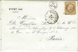 1859- Lettre De PARIS Cad  1520 Affr. N°13  Oblit. Losange  D  Baton + DS /2  Dans Un Cercle - 1849-1876: Periodo Classico