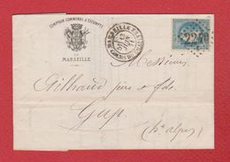 Lettre   / De Marseille / Pour Gap / 13 Juin 1871 / Comptoir Communal D'escompte De Marseille / Encore Fermée - Postmark Collection (Covers)