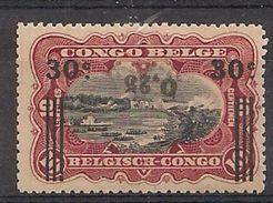 CONGO BELGE 104 MNH NSCH ** Surcharge Renversée - Omgekeerde Opdruk ( Gomme Tropicale Gom) - Congo Belga