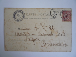 """CACHET ARRIVÉE """"SAIGON CENTRAL COCHINCHINE 20 OCTOBRE 1904"""" - CPA 46 LOT SOUILLAC ABSIDE DE L'ÉGLISE - Brieven En Documenten"""