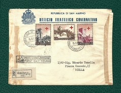 SAN MARINO 1941 - FDC Viaggiata Da San Marino A Biella - Pro Croce Rossa - 3 Valori - Sassone 369-71 - FDC