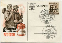 LUXEMBOURG ENTIER POSTAL AVEC OBLITERATIONS ILLUSTREES LUXEMBURG 12-1-1941 - 1940-1944 Occupation Allemande