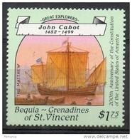 Bequia Grenadines St. Vincent 1988 - Grandi Esploratori, Great Explorers John Cabot MNH ** - St.Vincent E Grenadine