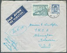 50c. Petit Sceau De L'Etat + 6Fr. Industrie Obl. Sc UCCLE 1 Sur Lettre Par Avion 27-9-1949 Vers UA  - 12244 - 1948 Export