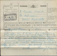 TELEGRAMME Déposé à COURT-Saint-ETIENNE Vers Uccle Avec Cachet (RR) Télégraphique UCCLE VIVIER D'OIE T T UKKEL DIESDELLE - Telegraph