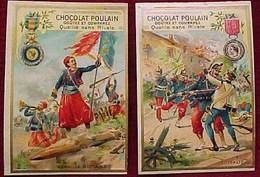 POULAIN Lot De 2 CHROMO Gaufrées MEDAILLE MILITAIRE ZOUAVES Et D' ITALIE , DECORATION , 2 Old Advert MILITARY MEDALS - Poulain