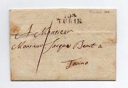 !!! PRIX FIXE : DEPT CONQUIS, 104 DEPARTEMENT DE L'ERIDAN, MARQUE POSTALE DE TURIN SUR LETTRE DE GIAVENO DE 1806 - 1792-1815: Départements Conquis