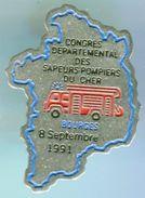 SAPEURS POMPIERS-CONGRES DEPARTEMENTAL SP DU CHER 1991 - Bomberos