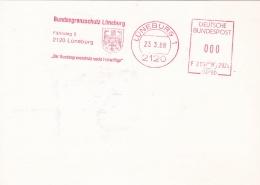 Germany Card W/Machine Cancel Lüneburg 1988 Bundesgrenzschutz Lüneburg (T12-38) - Politie En Rijkswacht