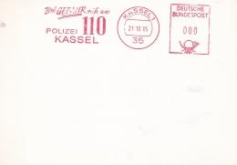 Germany Card W/Machine Cancel Kassel 1985 Bei Gefahr Rufe An 110 Polizei Kassel  (T12-38) - Police - Gendarmerie