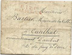 LETTRE 1823 AVEC CACHET DE PORT PAYE ROUGE P12P MARSEILLE - 1801-1848: Précurseurs XIX