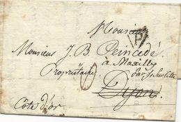LETTRE 1814 AVEC CACHET DE DEBOURSE DEB 20 DIJON - Poststempel (Briefe)