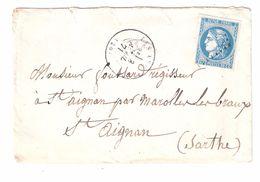 Lettre LES ANDELYS, Eure 3 Avril 1871, GC 93 Sur CERES De BORDEAUX N° 46 ( TTB ) > St Aignan, Sarthe - Postmark Collection (Covers)