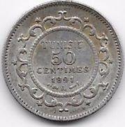 Tunisie 50 Centimes 1891 Argent - Monnaies