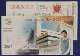 Railway,Electric Locomotive,stewardess,China 2001 Xuzhou Railway Bureau Advertising Pre-stamped Card - Trains