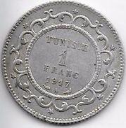 Tunisie 1 Franc 1917 Argent - Monnaies