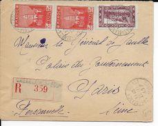 1945 - MAROC - ENVELOPPE RECOMMANDEE De CASABLANCA => GENERAL DE GAULLE (CACHET SERVICES PUBLICS AU DOS) - 2. Weltkrieg 1939-1945