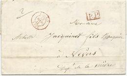 LETTRE 1842 AVEC CACHET TYPE 15 ROUGE D' ANTIBES ET CACHET P.P ROUGE - 1801-1848: Vorläufer XIX