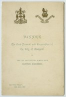 Menu 1907 City Hall Glasgow . 2nd Bataillon King's Own Scotish Borderers . Lord Provost . Toasts . - Menus