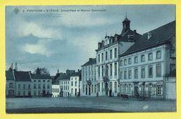 * Fontaine L'Eveque (Hainaut - La Wallonie) * (SBP, Nr 2) Grand'Place Et Maison Communale, Ane, Ezel, Donkey, Attelage - Fontaine-l'Evêque