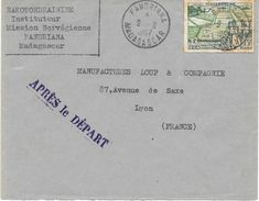 Lettre Madagascar Avec Griffe Aprés Le Départ Fandriana 1957 - Lettres & Documents