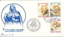Vatican FDC 23-9-1982 Teresa D'Avila Complete Set Of 3 With Cachet - FDC