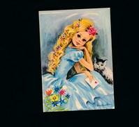 CPSM  -  Jeune Fille Longs Cheveux Blonds Chat Chaton Cat Katze- Enveloppe Coeur - Signée  N. Dufourt  - Lyna N0 140/2 - Portretten