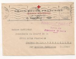 ENVELOPPE CROIX ROUGE 1943 DE VICHY A MOULINS / FRANCHISE POSTALE SERVICE DES PRISONNIERS DE GUERRE CPA1047 - Guerra De 1939-45
