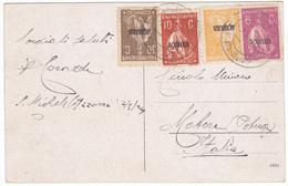Portugal Postcard To Italy 1924- Several Açores Ceres Stamps - Variétés Et Curiosités