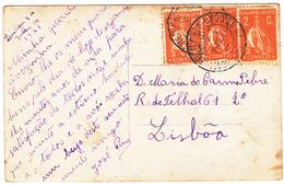 Portugal Postcard To Lisboa 1921- Several 2C Ceres Stamps. - Variétés Et Curiosités