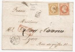 - Lettre - BFE SYRIE - BEYROUTH - N°21+23 Oblitérés GC.5082 + CàD Type 15 - 1865 + PAQUEBOTS DE LA MEDITERRANEE Rouge - 1862 Napoleone III