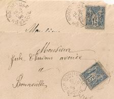 BONNEVILLE  Haute Savoie Sur 2 Devants D'enveloppe Au Type SAGE. - 1876-1898 Sage (Tipo II)