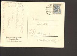 Alli.Bes.12 Pfg.Arbeiter Auf Postkarte V.1947 D.Schwarzenberg-Alm Elbach Einkreis-Gitterstegstempel - Gemeinschaftsausgaben