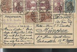 2 Cartes Avec Complèment  Obl. Aachen 28/09/1922  Et 30/09/1922 - Duitsland