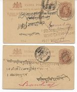 1906/1908 - INDIA - 2 CARTES ENTIER Avec REPONSE PAYEE (REPLY) - 1902-11 King Edward VII