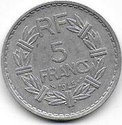 5 Francs  Lavrillier  1945 C  En  Aluminium - France