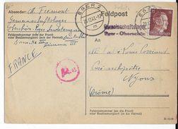 1944 - STO - CARTE D'un TRAVAILLEUR STO En ALLEMAGNE à EGER (SUDETES) => NYONS (DROME) - WW II