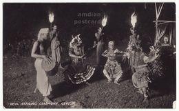 Ceylon Devil Dancing Ceremony Ethnic Dance C1920s Vintage Real Photo Postcard RPPC Ceylan - Sri Lanka M8552 - Sri Lanka (Ceylon)