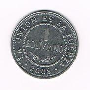 ) BOLIVIA  1 BOLIVANO  2008 - Bolivie