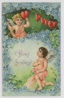 Illustrateur, Anges, Coeurs, Fleurs - Gaufrée, 1912 (hm050) - Illustrateurs & Photographes