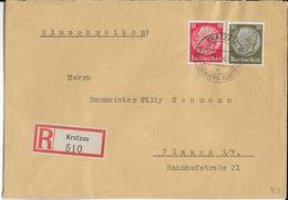 1940 - SUDETES - ENVELOPPE RECOMMANDEE De KRATZAU => PLAUEN - Germany