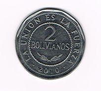 ) BOLIVIA  2 BOLIVANOS  2010 - Bolivie