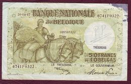 BELGIQUE - 50 FRANCS Ou 10 BELGAS 26/04/1947 - Pick.106 - [ 2] 1831-... : Regno Del Belgio