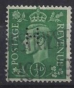 GB 1941  KG VI. 1/2d (o) SG.485. Mi.221. (perfin.H) - Great Britain