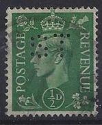 GB 1941  KG VI. 1/2d (o) SG.485. Mi.221. (perfin.ST) - Great Britain