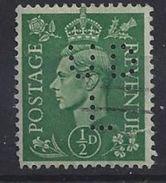 GB 1941  KG VI. 1/2d (o) SG.485. Mi.221. (perfin.UD L) - Great Britain