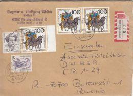 5988FM- HANNAH ARENDT, DOROTHEA ERXLEBEN, STAGE COACH, STAMPS ON REGISTERED COVER, 1990, WEST GERMANY - Storia Postale