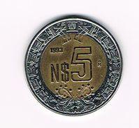 )  MEXICO  5 NEW  PESOS 1993 - Mexique