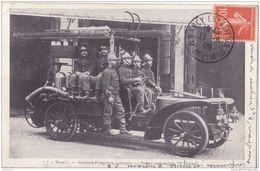 NANCY SAPEURS POMPIERS CASERNES POMPE AUTOMOBILE 1909 CPA BON ÉTAT - Sapeurs-Pompiers