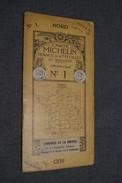 Très Ancienne Carte Michelin,N° 1 ,Calais - Lille ,Automobile Renault,pour Collection - Geographical Maps